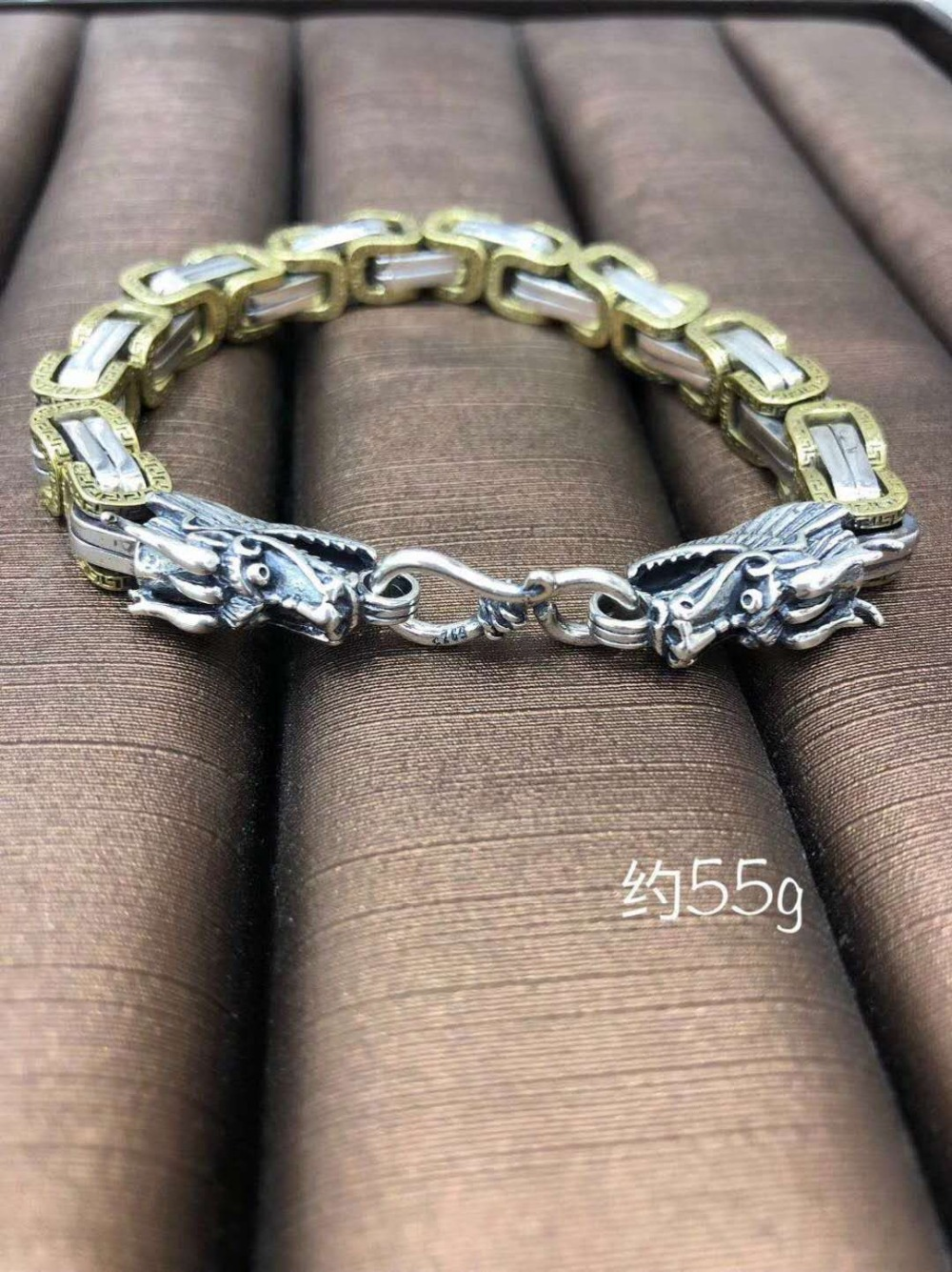 Jooremonter Sterling S925 argent Bracelet 925 homme mode Totems romantique vintage ethnique pendentif naturalstone fermé bracelet