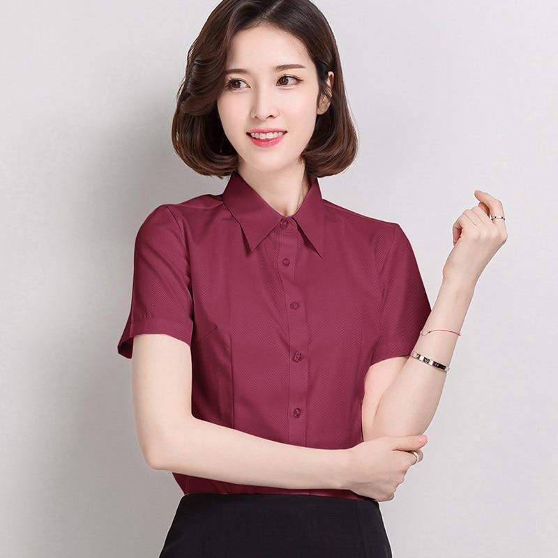 Summer Casual Cotton Women Shirts Pink Turn-down Collar OL Short Sleeve Women Blouses Plus Size 4XL/5XL Ladies Tops
