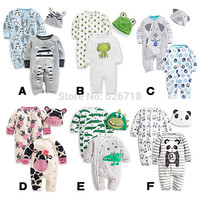 3Pcs Set 0 24M Cute Animal Newborn Clothing Baby Rompers Hat Cotton Baby Boy Girl Clothes