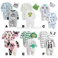 3 Unids/set 0-24 M Animal Lindo Recién Nacido Ropa de Bebé de Los Mamelucos + Sombrero Del Algodón Del Bebé Ropa de la Muchacha Fijaron mono Roupas Pijama