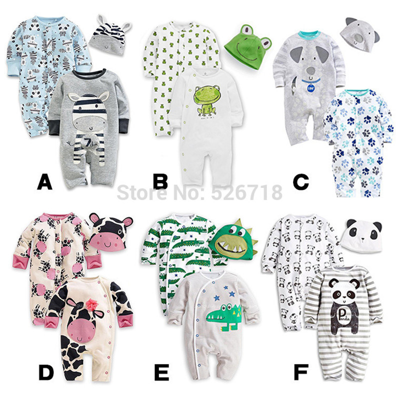 3Pcs/Set 0-24M Cute Animal Newborn Clothing Baby Rompers + Hat Cotton Baby Boy Girl Clothes Set Jumpsuit Roupas Pajama Sets 2 pcs lot newborn baby girls clothing set cute pink cotton baby rompers boys jumpsuit roupas de infantil overalls coveralls