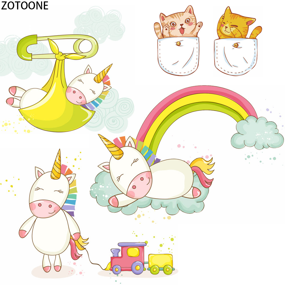 ZOTOONE Colorful Cute Animals Patch Unicorns Iron on Transfer Patches Thermo Stickers for Clothes Heat Transfers Applique Badges in Patches from Home Garden