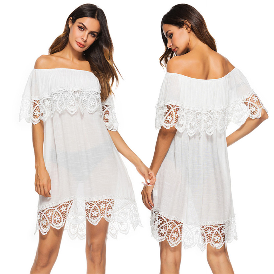 Loose Beach Cover Ups Sexy Women Lace Summer Off Shoulder Beach Bikini Cover Up White Swimwear Bathing Suit Dress Free Size