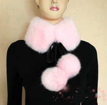 Women Faux fur collar scarfs with ribbons and fur balls
