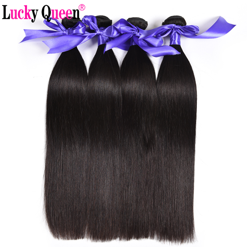 Lucky Queen Hair Products Pruvian Straight Hair 4 Bundle Deals 100% - Mänskligt hår (svart)