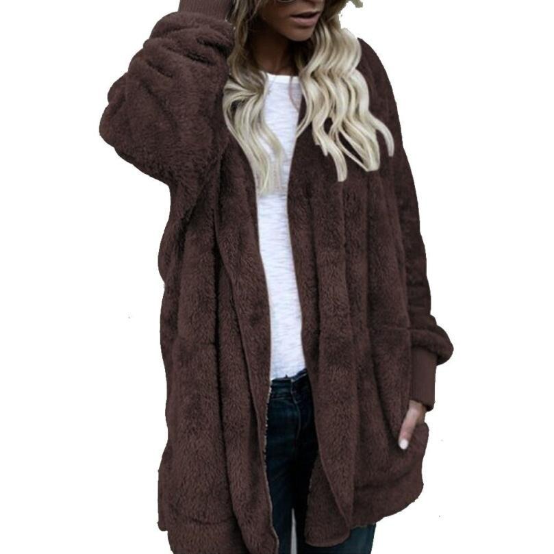 Casual Flannel Hoodies Sweatshirt Women Autumn Winter Solid Color Hooded Coat Long Sleeve Black Jacket Outwear Drop shipping#1