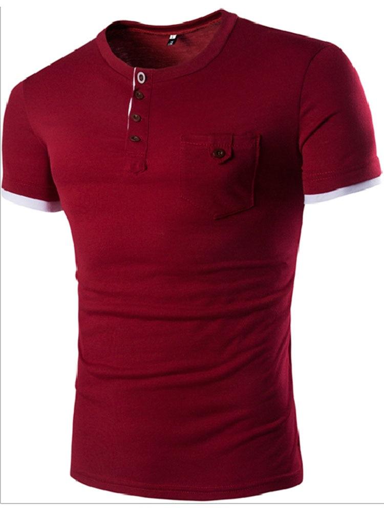 2017 foreign trade bursts men short - sleeved T - shirt single pocket stitching access design design men 's T - shirt