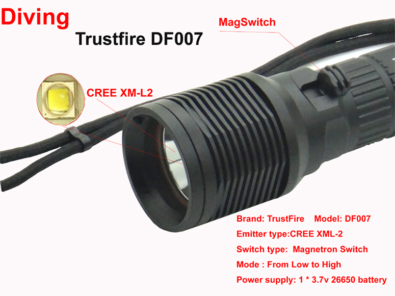 Waterproof DF007 Diving Flashlight XML-2 Magnetron Switch Underwater LED light without battery waterproof df007 diving flashlight xml 2 magnetron switch underwater led light without battery