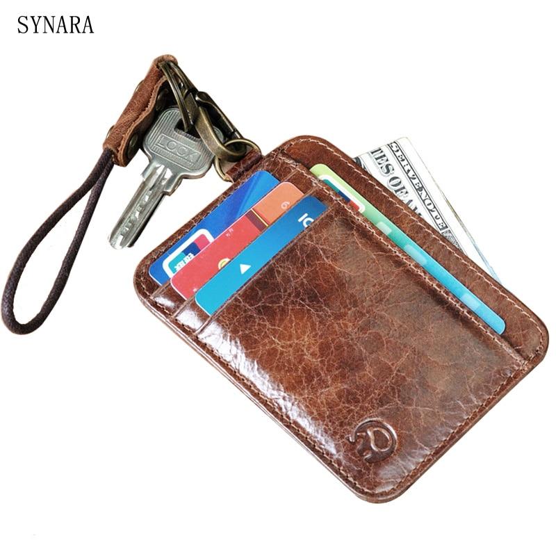 Натуральная Воловья кожа ID Card Holder Для мужчин и Для женщин случайный случай путешествия кредитной банковской карты бумажник пакет/отверстие...