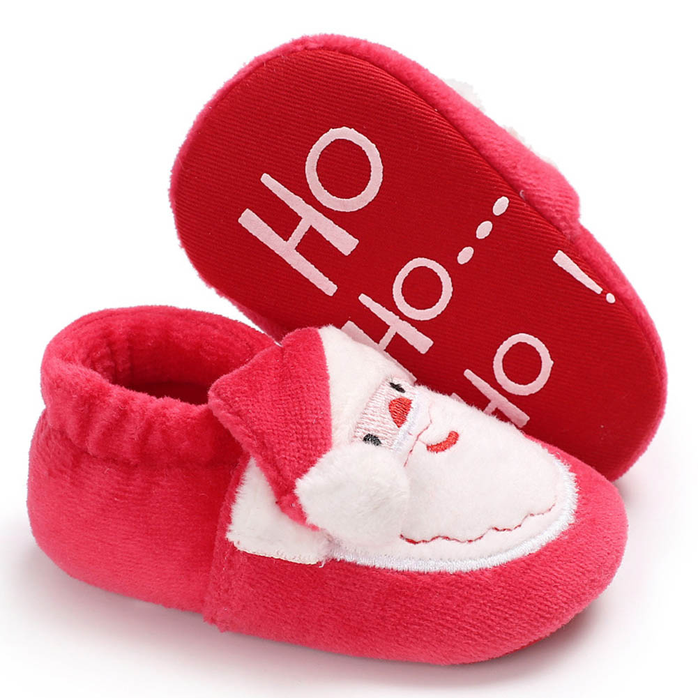Cute Christmas Unisex Warm Baby Slippers Newborn First Walkers Prewalker Santa Claus Booties Winter Baby Shoes