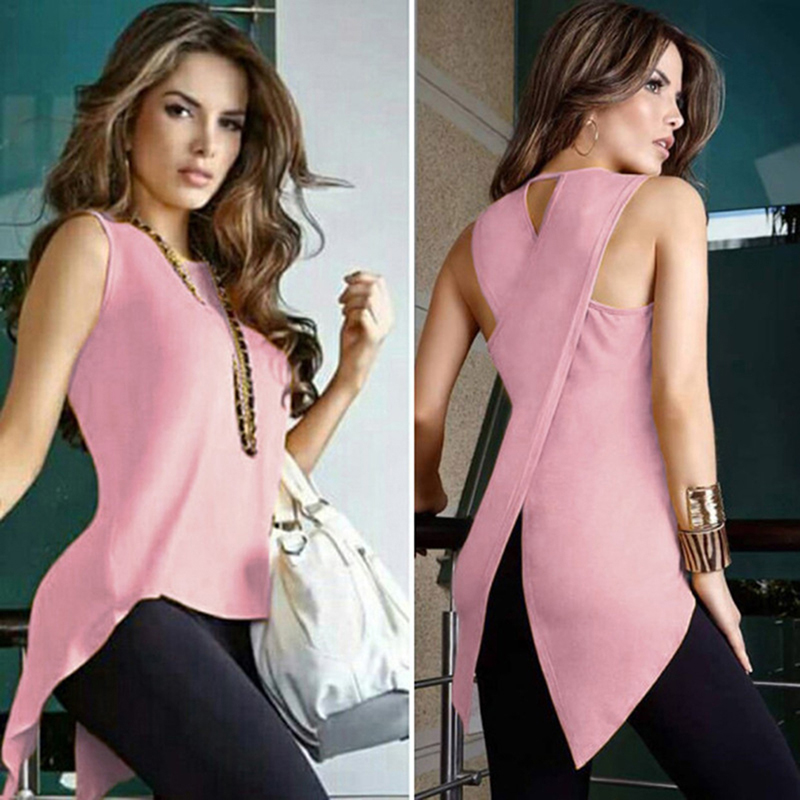 Summer Women T-shirt Fashion Sexy Sleeveless Back Cross Female Tops Teetee Shirt Femme Irregular Slim Shirt