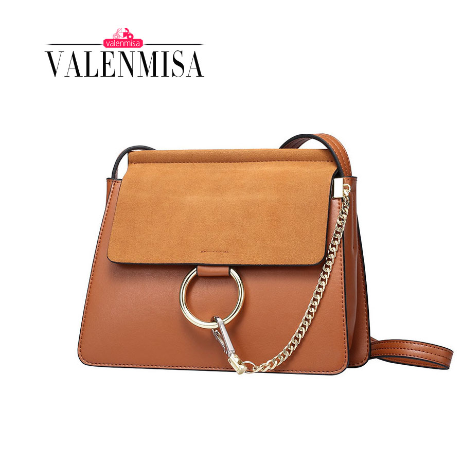 Women Beautiful Circular Ring Genuine Leather Bags For Women Messenger Bag Fashion Small Chain Crossbody Bag Purse And Handbags simple chain ring leather mini women crossbody bags small women splice bag messenger shoulder sling purse lady handbag with pink
