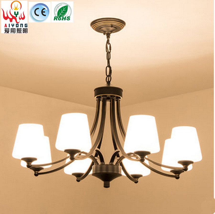 Led retro bedroom living room lights iron chandelier for Chandelier lights for living room