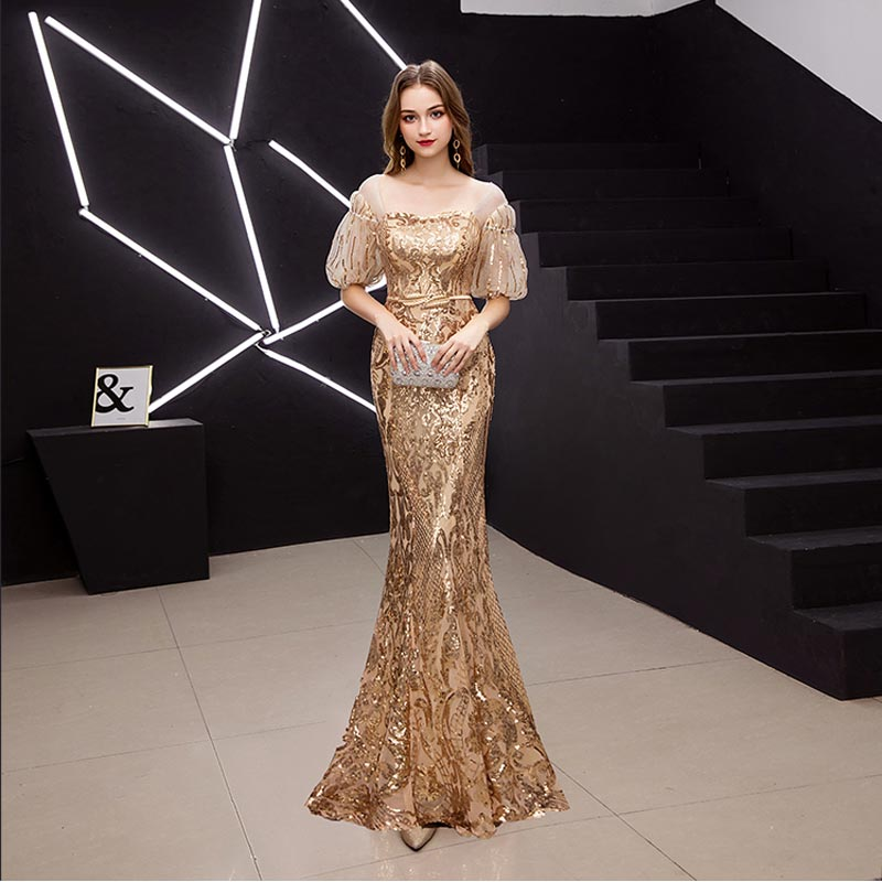 FADISTEE New arrival elegant prom dresses Vestido de Festa gown mermaid Robe De Soiree half puff sleeve sleeves bling sequins 4