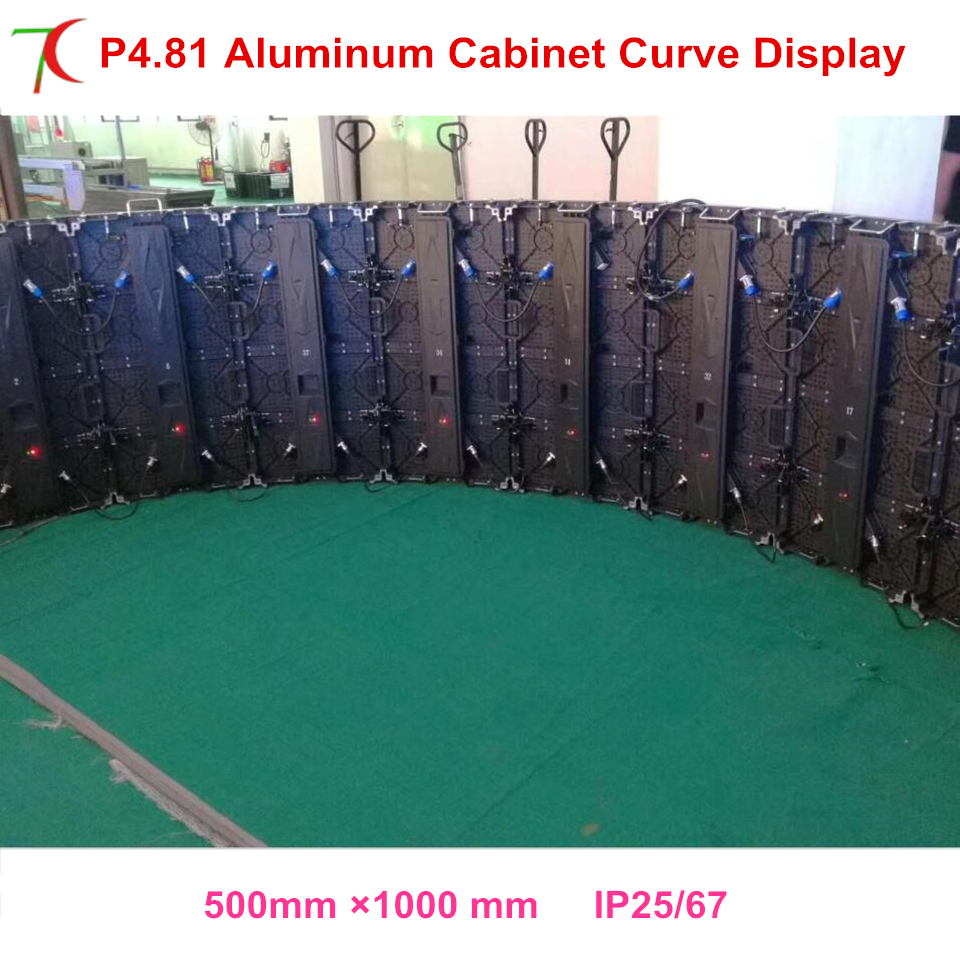 Curve Led Screen P4.81 Indoor 500*1000mm Die-casting Aluminum Rental Cabinet Led Display