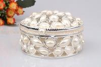 Oval Pewter Jewelry Box with Pearl Studded Keepsake Storage Box Pearls Trinket Jewelry Box Elegant Ring Treasure Box