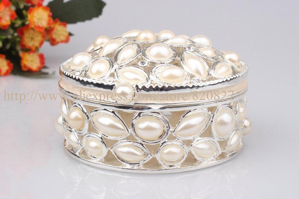 ჱOval joyería del Estaño con La Perla tachonado recuerdo caja de ...