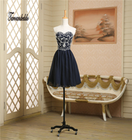 Sweetheart Neckline Hand Beading Silver Crystals Short Prom Dresses Dark Blue Mini Party Dress New Fashion