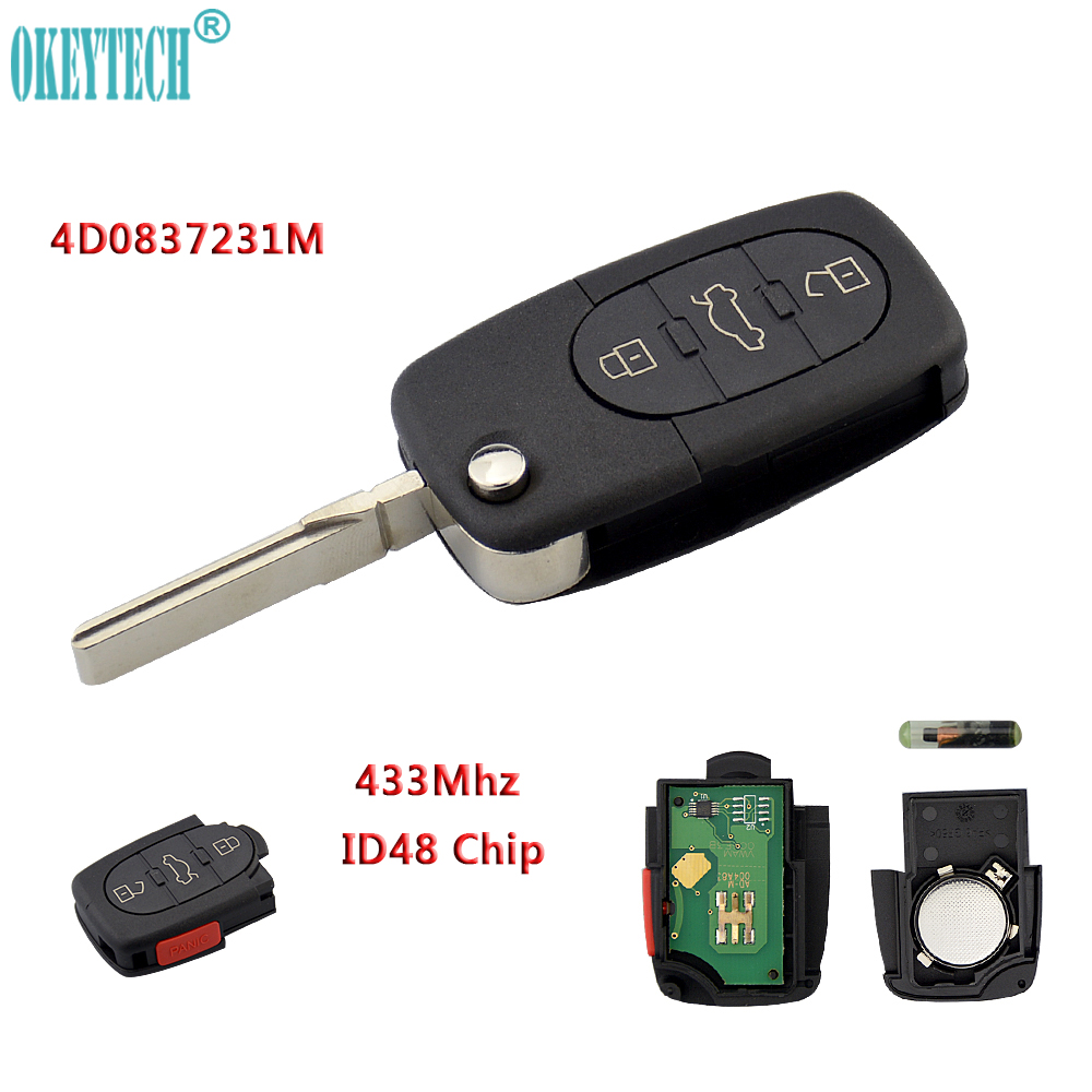OkeyTech 2+1 3 Button Flip Folding Remote Auto Car Key 433Mhz ID48 Chip 4D0837231M for Audi for A6 TT Quattro S6 Free Shipping free shipping 3 button flip key shell for cr2032 big battery type2 for audi 10 piece lot