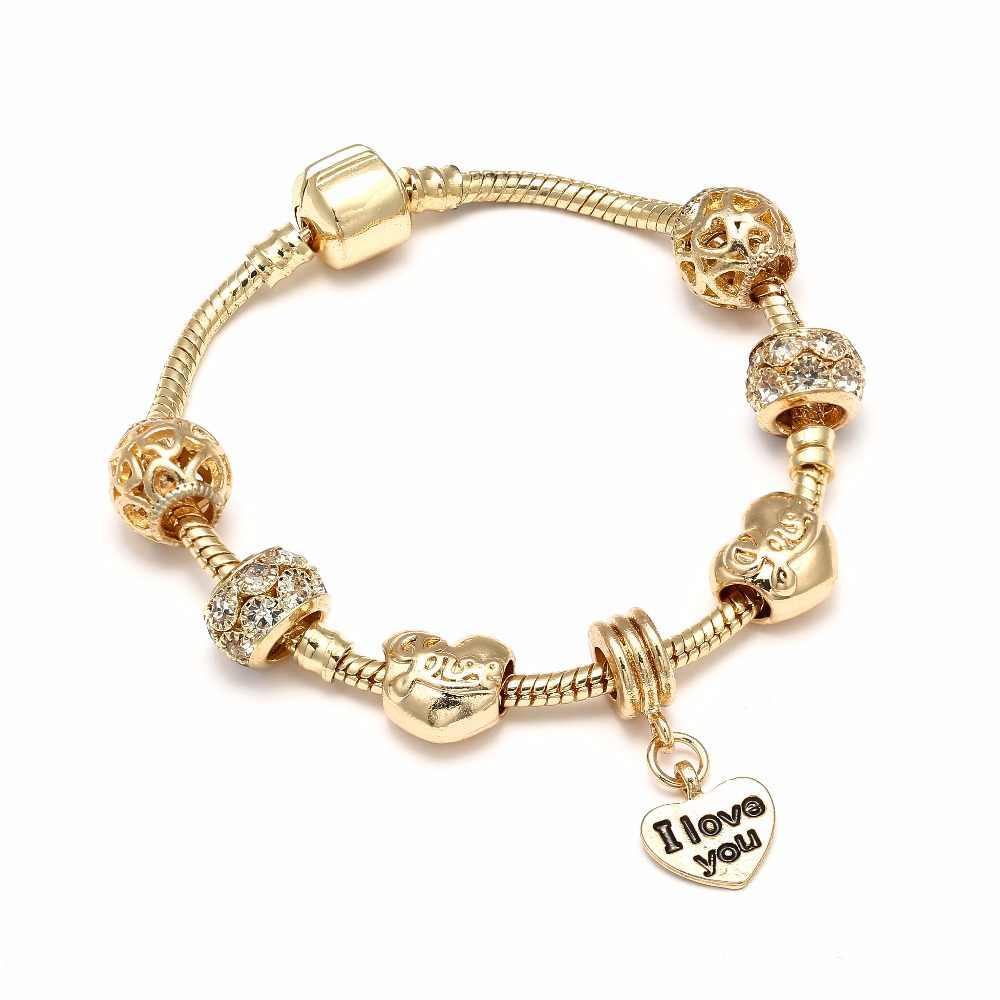 d77960dd9 I LOVE YOU Gold-color Charm Bracelets For Women Gold Crystal DIY Beads  Pandora Bracelets