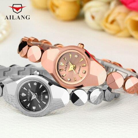 Mulheres do Tamanho Relógio de Quartzo Vestido de Relógio de Pulso da Marca Bonito Mini Fina Pulseira Relógios Real Tungsten Aço Rose Gold Elegante Senhora Reloj