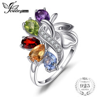 Genuine Amethyst Citrine Garnet Peridot Sky Blue Topaz Cocktail Ring Solid 925 Sterling Silver 2015 Fabulous