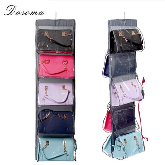 5 Layer Pockets Hanging Storage Bag Canvas Handbag Organizer Closet Rack Hangers With 10