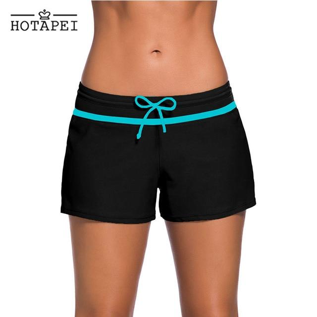 Hotapei Mulheres Praia Surf Shorts Quick Dry Wicking Esporte troncos Natação Boardshort swim maiô feminino preto corredores LC41977
