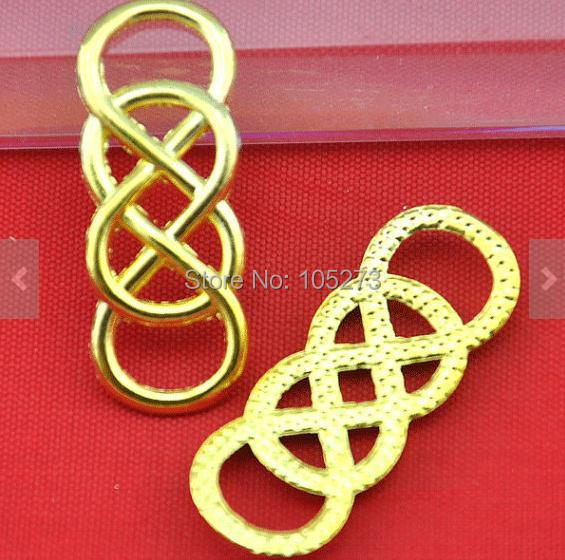 French 13x33mm 20pcs Gold Plated Wire Mesh Double Infinity Symbol