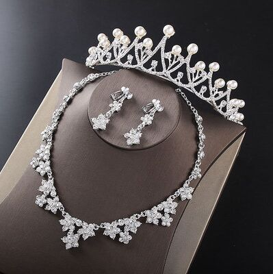 2017 New Silver Crystal Necklace Earrings for Women Wedding Jewelry Sets Whit K Plated Bridal Jewelry Sets With Tiaras & Crowns (5)
