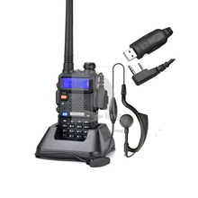 New Baofeng UV-5R 105 DCS/50 CTCSS 136-174/400-480MHz Radio Walkie Talkie + USB Programming Cable 014903 Free Shipping