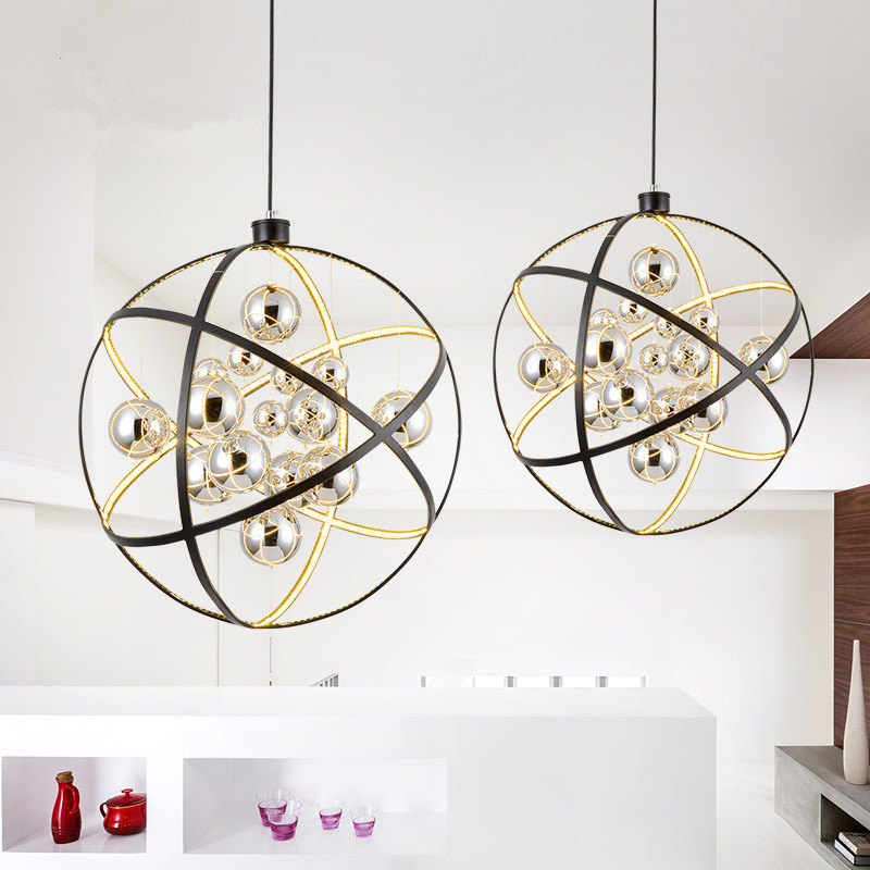 Nordic Simple Living Room Dining Room LED Chandelier Post-modern Creative Personality Restaurant Round Globe Lamp Free Shipping nordic cozy restaurant chandelier modern minimalist dining room creative art living room study kitchen counter lamp postage free