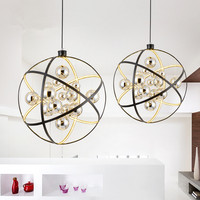 Nordic Simple Living Room Dining Room LED Chandelier Post Modern Creative Personality Restaurant Round Globe Lamp