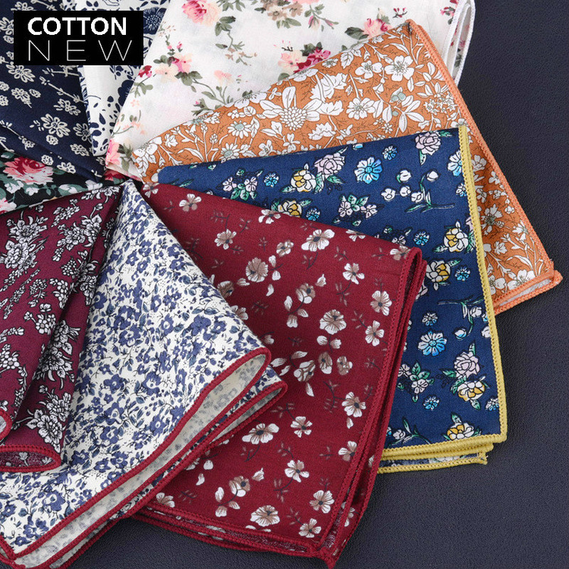 High Quality Men's Cotton Printed Floral Pocket Towel Small Handkerchief Square Western Accessories Pocket Scarf  Hanky Cotton