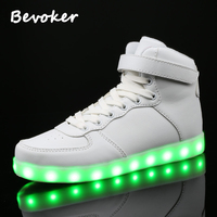 Bevoker 7 Colors Men LED Light Up Shoes High Top USB Rechargeable Luminous LED Shoes For