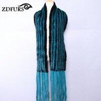 ZDFURS * Il pavone blu visone lavorato a maglia scialle sciarpa lunga nappa visone di alta qualità fili di ordito nero blu colore