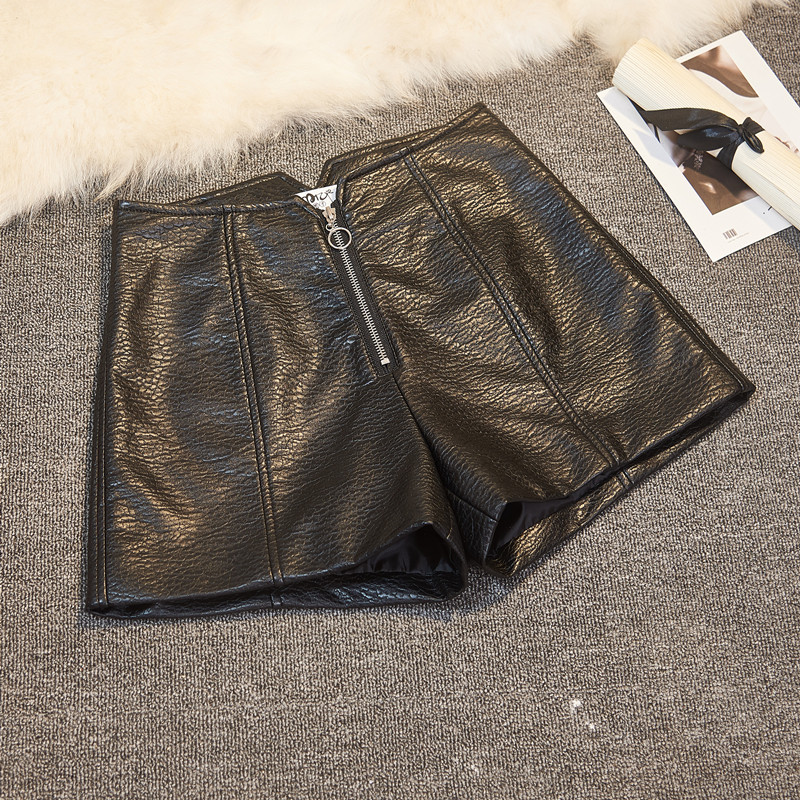 SexeMara Women Autumn Winter PU Leather Shorts High Waist Casual Wide Leg Shorts Cool Punk Style Leather shorts Outerwear Short