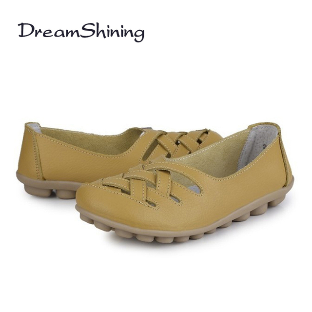 DreamShining Spring New Fashion PU Leather Woman Flats Moccasins Comfortable Woman Shoes Cut-outs Leisure Flat Casual Shoes