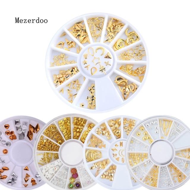 Golden Triangle Manicure Wheel Rhinestone Cross Arrow Moon Star Design Nail  Deco Alloy Nail Stcikers Charms ad2b992ffc98