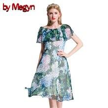 ff90c21fe38 Par Megyn piste de haute qualité 2018 femmes d été robe ruches douille  d o-cou vert imprimé floral élégant parti robes robe femm.