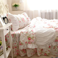 New handmade wrinkle bedding set rustic garden rose ruffle duvet cover princess quilt cover elegant bedspread bed sheet bedding