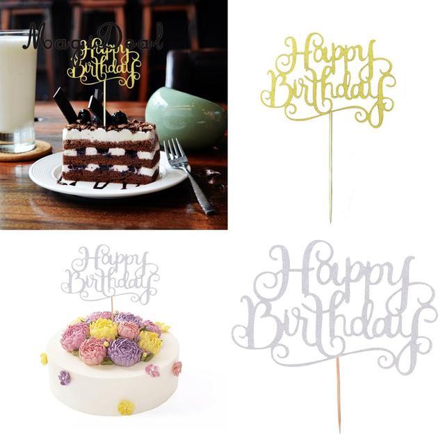 Magideal 20 Pz Glitter Carta Lettere Di Buon Compleanno Della Torta