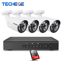 Techege Security Camera System 8CH CCTV System 8ch DVR 1080P HDMI Video Output 4pcs 1080P AHD