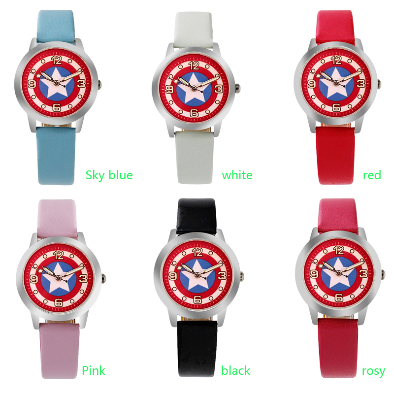 ot01 Cartoon Beautiful girl Captain America shield style Color number dial children students girl's leather quartz watch katharine bates america the beautiful