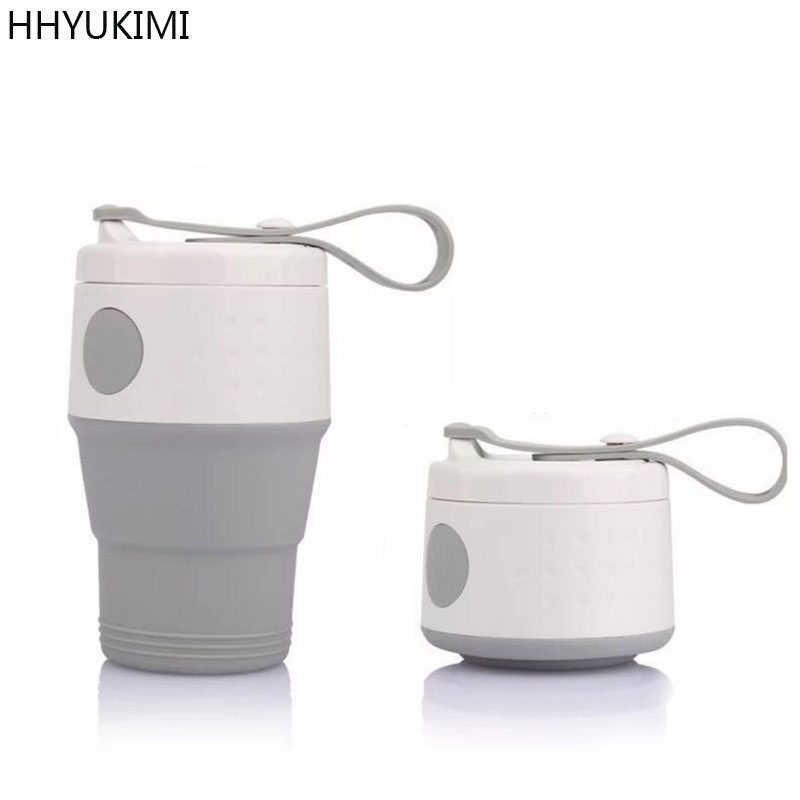 HHYUKIMI Portable Silicone Folding Cup Coffee Cup With Seal Dustproof Lid Outdoor Travel Cups Retractable Mini Water Cup