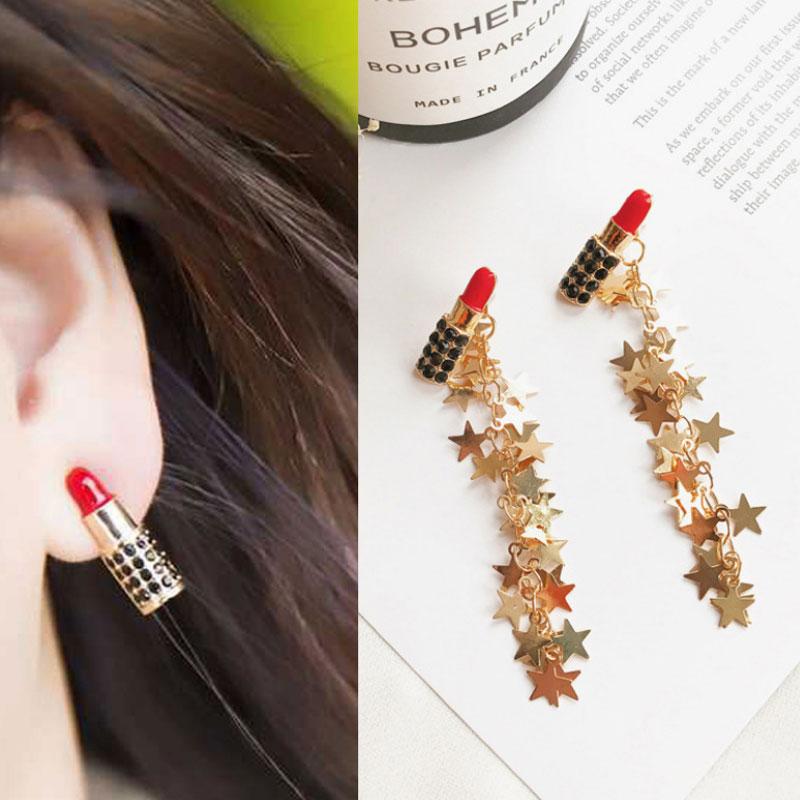 Mode Sexy Roten Lippenstift Ohrringe Lange Stern Quaste Drop Baumeln Ohrring Hochzeit Schmuck Brincos Für Frau