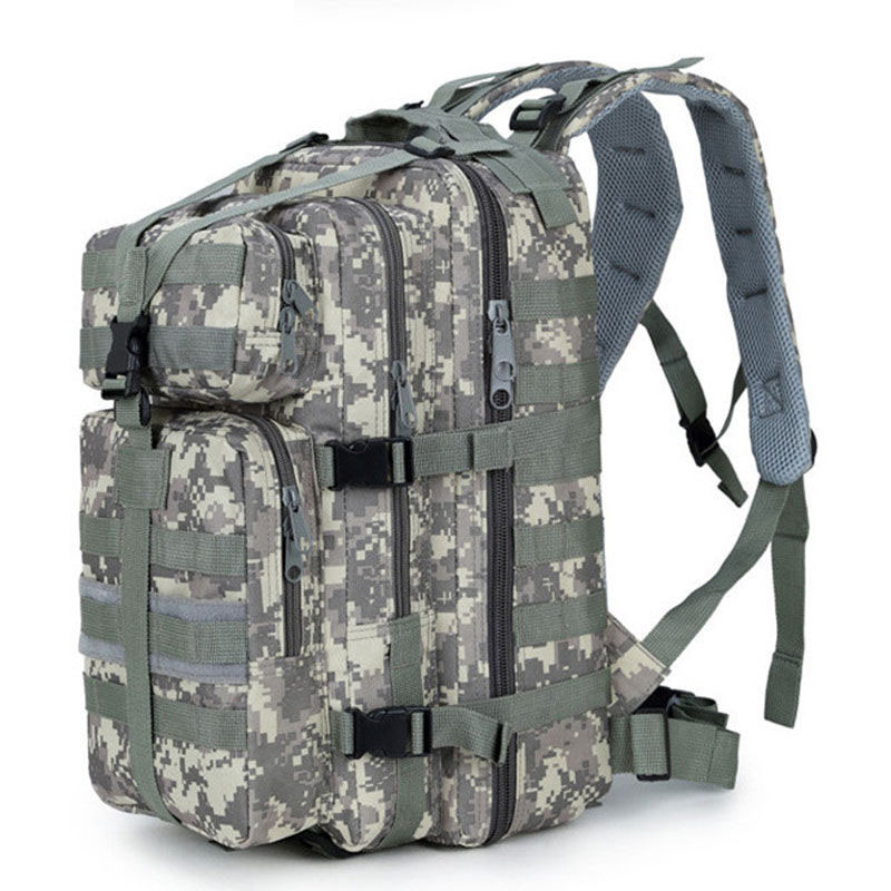 2018 25L Men Women Military Army Backpack Trekking Camouflage Rucksack Molle Tactical Bag Pack Schoolbag Waterproof ACU Black in Climbing Bags from Sports Entertainment