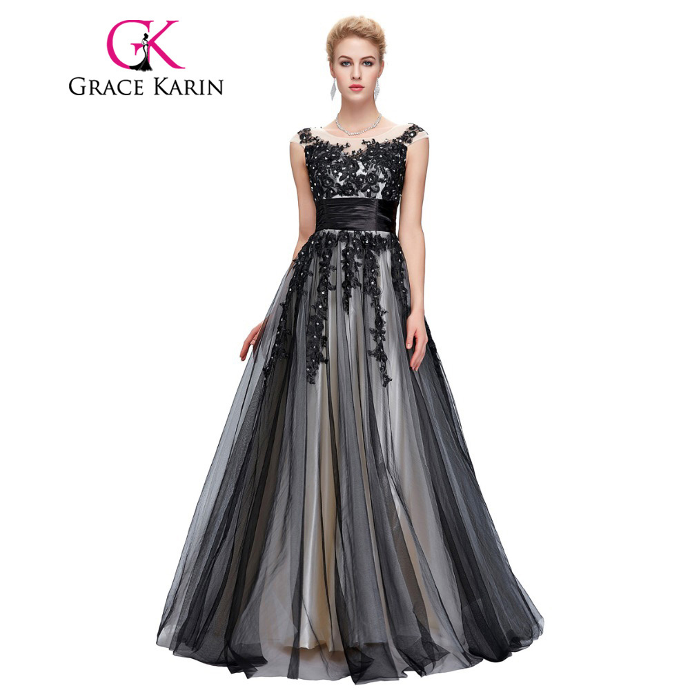 Buy Cheap Grace Karin 2017 Soft Tulle Lace Long Black Appliques Evening Dresses Elegant Sequin Sleeveless Formal Evening Dress Party Gowns