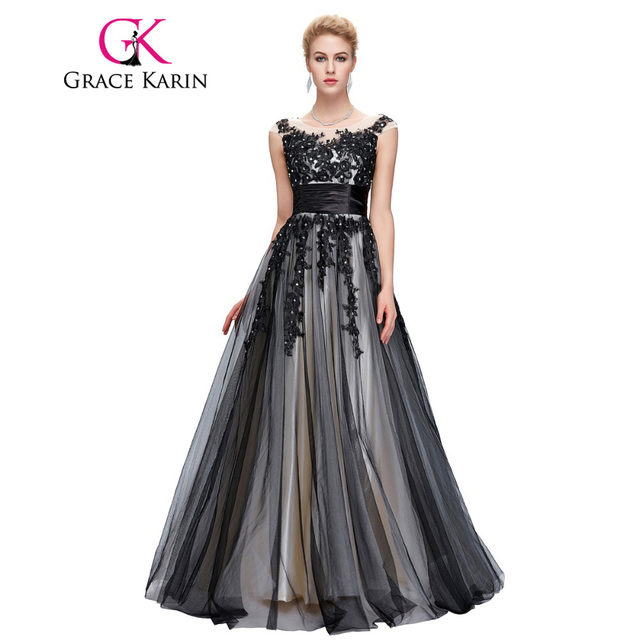 Grace Karin 2018 Soft Tulle Lace Long Black Appliques Evening Dresses Elegant Sequin Sleeveless Formal Evening Dress Party Gowns