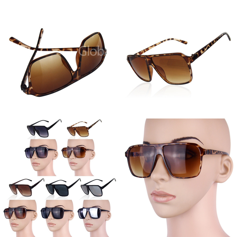 Mens sunglasses large head - Thick Big Frame Color Lenses Cool Party Large Eyeglasses Sunglasses Uv400 Women Men Wear Glass